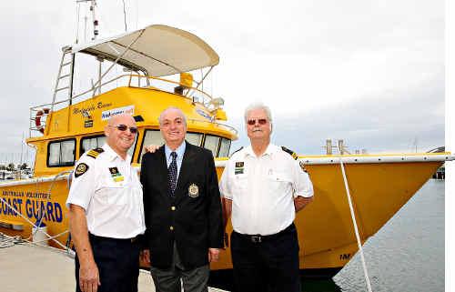 Coast Guard Mooloolaba receive generous donation and rename resuce boat Rhondda, after fatal crash victim. (L to R) John Annabell, Michael Alexander and Bob Truman.