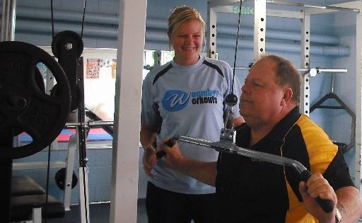 Personal trainer and diabetes program coordinator Kim Neilson with Woombye Workouts member Steve Bell.
