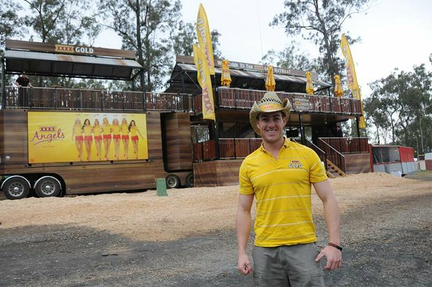 Brodie Watson stands in front of the new and improved XXXX Gold Retreat.