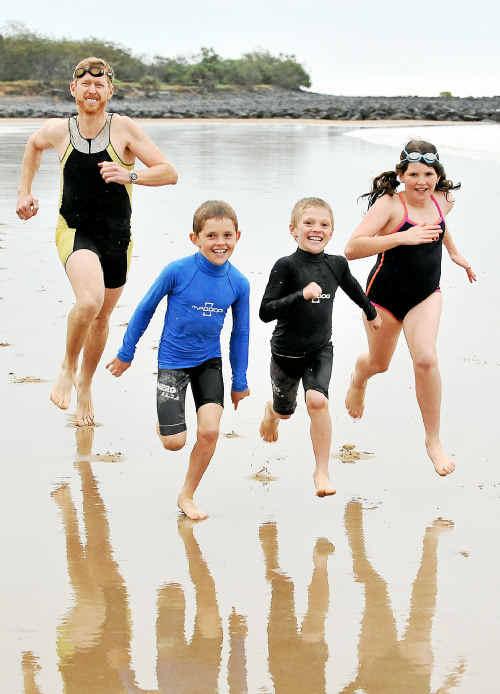 Guy McNicol trains with his kids Zach, Jarrah and Nelia.