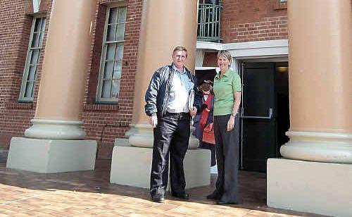 Vince Dyson and Kelli Sauer treasure City Hall history.