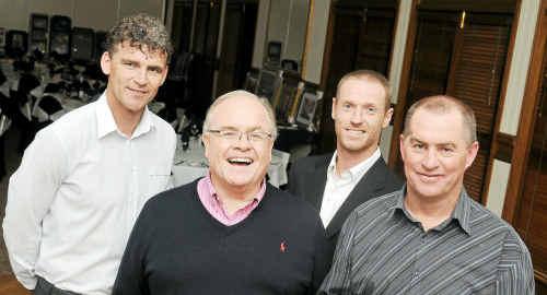 Well-known sportsmen (from left) Alex Tobin, Chris