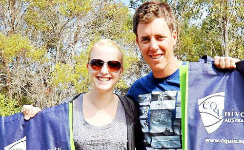 Ilee Sannholm and Matt Steer make the most of the CQ University Open Day.