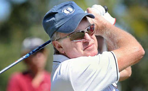 Former US PGA champion Wayne Grady tees off in the Fraser Coast Legends Classic tournament in Hervey Bay.
