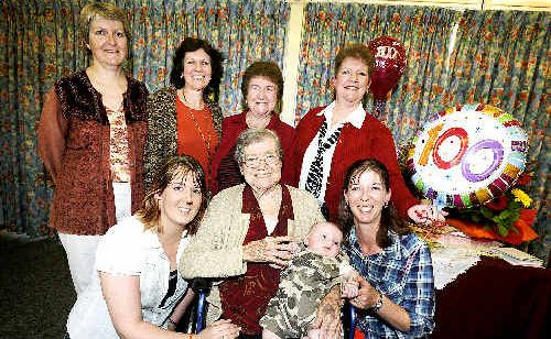 Ida Marin (front centre) celebrates her 100th birthday at St Joseph's with (front, from left) great granddaughter Jenna Ackland-Brown, great great grandson Troy Price and granddaughter Lisa Brown; and (rear, from left) granddaughters Loretta Bravin and Sandra Bravin and daughters Silvina Bravin and Stella Furlong.