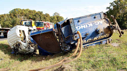 The accident scene where a truck rolled over at the Woodford end of the Kilcoy-Beerwah Road.
