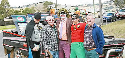 Variety Bash Car No 33 crew of Paul Hartin (Batman), Rob Tims (Joker), Rod Brimcat (Robin) with Jim McGee and Dave Nicholls at the Variety Bash stopover in Killarney.