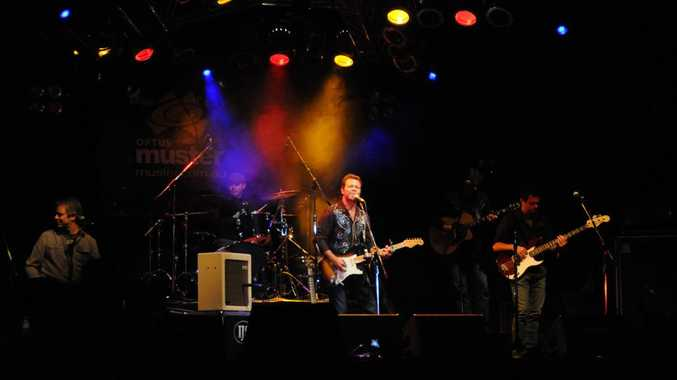Troy Cassar-Daley performs on the Main Stage.