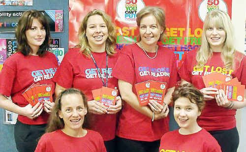 Gympie Library staff (back from left): Crystal Smith, Rachel Lethem, Karen Sallaway, Mel Jones; (front): Patricia Shaw and Sarah Tweed get ready to help everyone Get Reading!