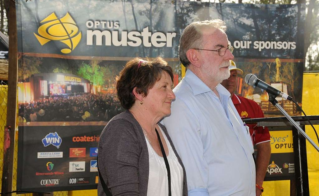 Kathy Kane and Brian Sansom address the Apexians and Muster sponsors on Saturday.