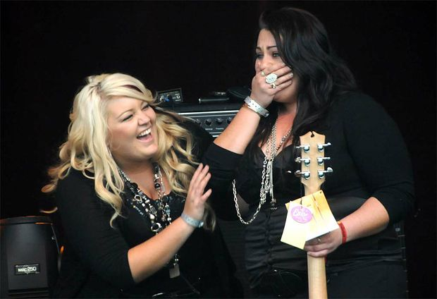 Katrina and Rebecca Burley are over the moon about winning the Maton Talent Search at the Optus National Music Muster.