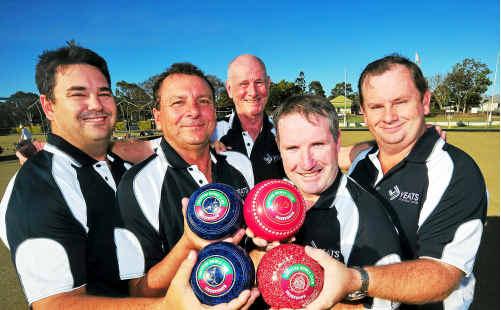Tim Smith, Kevin Bell, Jason Andrewartha, Darren McCracken and manager Tom Cummins (back).