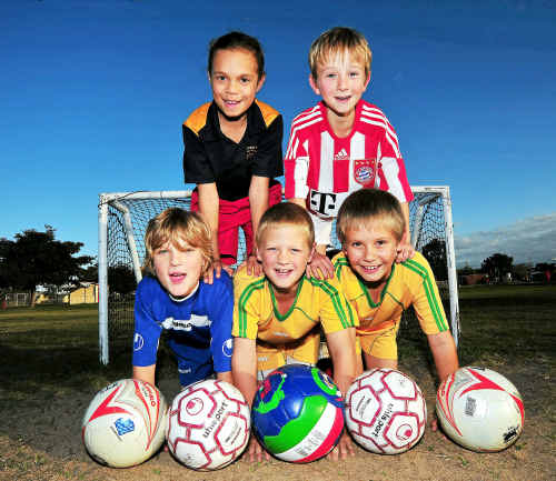 Luke Vincent, Marc Stofberg, Charles Liebenberg (bottom), Tahnia Garbutt-Canning and Harry Fenwick (top) are a few of the kids involved in Summer Football Competition.
