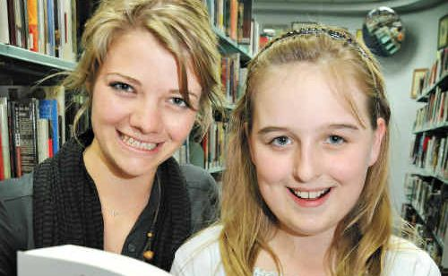Jessica Watson visits the Caloundra Library to promote her top-selling book, True Spirit. Jessica with young fan, Kelsey Jennings, 11.