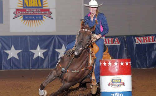 Chelsea Bartlett puts on a show at the Barrel Racing Youth World Championships.