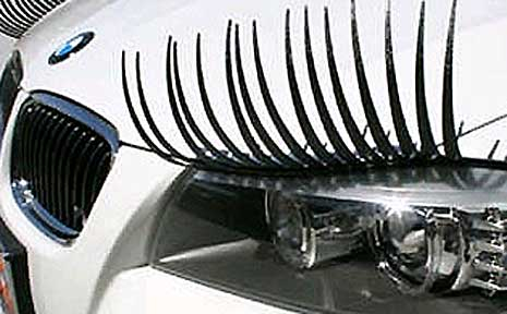 The eyelashes can be fitted easily to the headlights of most cars.