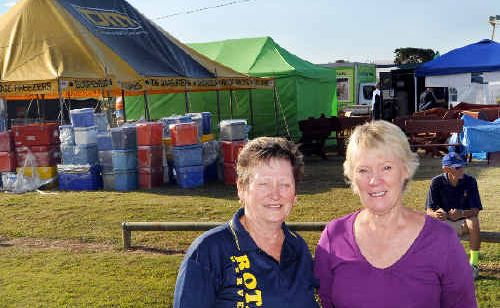 The Fraser Coast Living Expo was quickly taking shape on Friday afternnon Gayle Searle and Jenny Rolands' combined Rotary clubs of Hervey Bay prepare for the weekend event.