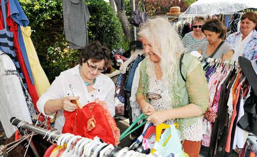 Karen Eliott and Susha Shulenski shopping for fairy dresses.