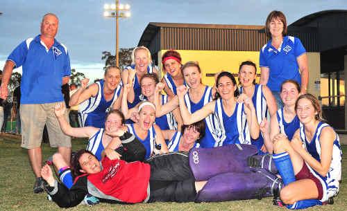 Wallaroos celebrate winning the Maryborough District Hockey Association A1 women's premiership on Saturday.