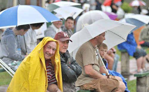 Ivan Cox didn't let the rain dampen his spirits at Shark Park.