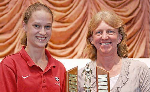 The female Golden Boot for 2010, Chelsea Coleman from Alstonville FC, with local women's soccer stalwart, Val Dowse.