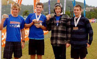 Quality quartet: Brendan Irwin, Matt Ogden, Daniel Lamb and Matt Slee at the finish line of their adventure race on Sunday.
