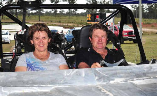 Hervey Bay's Brett and Linda Thornton on their jet boat Obsession during the titles at Susan River Raceway.