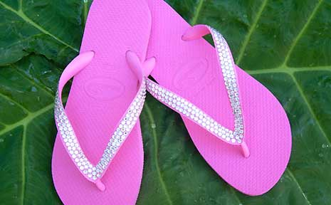 Havaiana's thongs with Swarovski crystals laced into the straps.