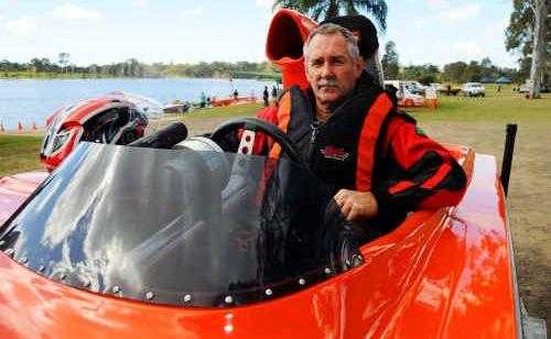 Jeff Brown aboard his pro stock powerboat Dejavu at Sandy Hook.