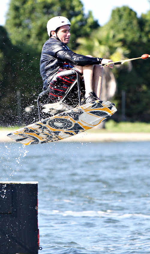 Bastien Perrett gets some air at Suncoast Cable Watersports.