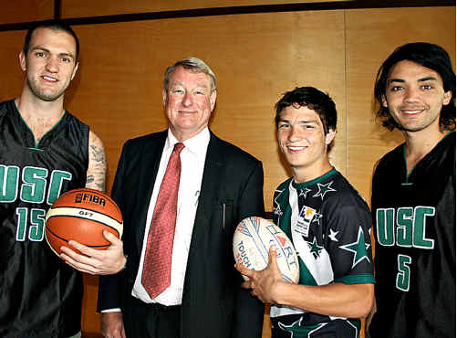 USC vice-chancellor Professor Greg Hill wishes athletes (from left) Ben Harris, Cameron Sullivan and Lancelot Denny all the best.