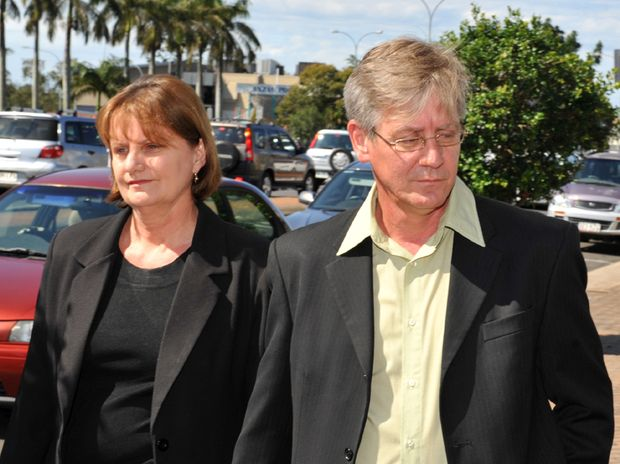 John Greenalsh arrives with his wife at Bundaberg Magistrates Court, where he was sentenced for sexual assault.