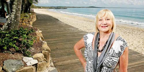 Ann Rickard on the boardwalk Main Beach Noosa Heads.