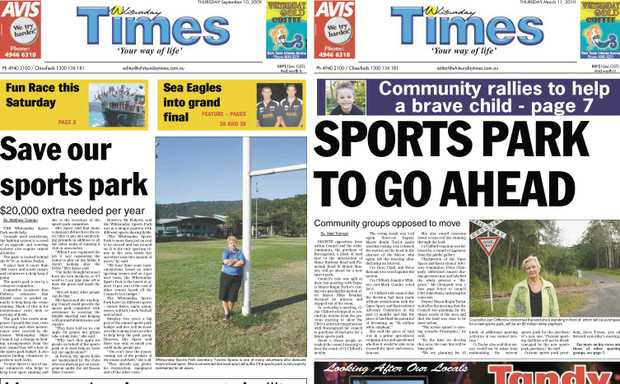 Whitsunday Times front pages from September 10, 2009 and May 13, 2010.