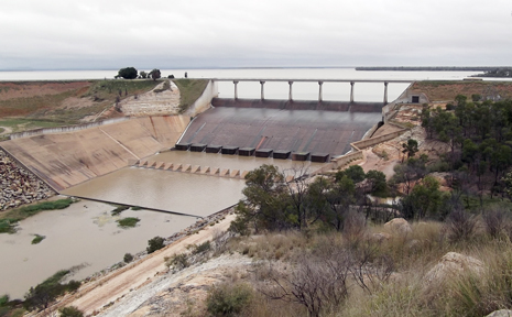 This photo shows the Fairbairn Dam spilling this morning.