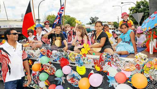 Bundaberg's little athletics club in this year's Bundy in Bloom parade.
