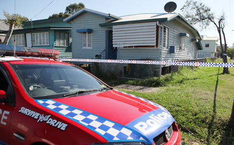 A crime scene has been set up at this Rockhampton house where a man was shot in the neck last night.