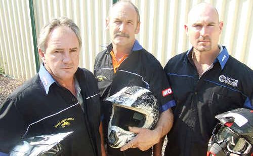 Trailbike riders and members of the Dual Sport Motorcycle Riders Association Wayne McKellar, Ken Allen and Steve Hohn are angry that hoon trailbike riders have marked tracks and are illegally entering property west of Maryborough.
