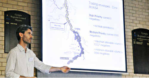 DERM'S Gympie water services senior project officer, Amos Saraber addresses yesterday's information meeting.