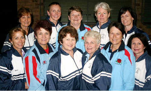 Blues veterans: Representing NSW at the national veteran hockey championships are, back row-from left, Janis Hutton, Julie McFadden, Chris Eather, Sue Hunter, Alison Porter; front row-from left: Helen Jarvie, Janelle Pitman, Wendy Trudgeon, Gloria McPherson, Sue Miller and Kerry Humphries.