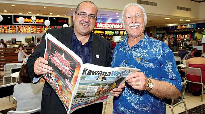 Daily editor in chief Mark Furler with dad Bill Furler at the launch of the Kawana Weekly. FILE IMAGE