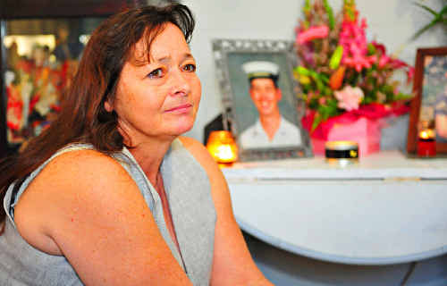 Karen Bailey mourns the loss of her son, Seaman Jay Wilkie, who died onboard HMAS Launceston on Tuesday.