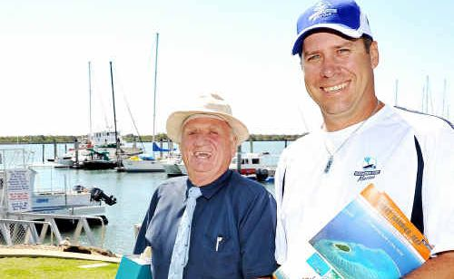 Director of Lady Musgrave Cruises John Clayton and marina manager Geoff Beyer at the Port Marina.