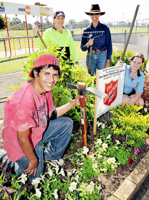 Horticultural students Josh Rowe and Joan Brown with horticultural trainer Anne Davies and work experience student Kaitlyn Pashley. The students have been beautifying the Bundaberg Racecourse.
