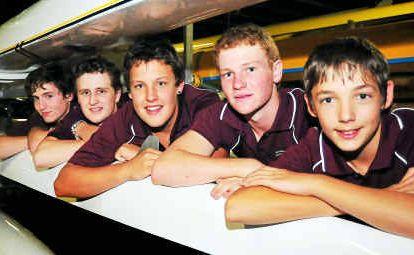 Bundaberg District Secondary Schools Open Boys Inter-regional Rowing Team are (from left) Joel Lindsay, Nathan Penny, Jesse Elliott, Daniel Brame and Curtis Hooper.