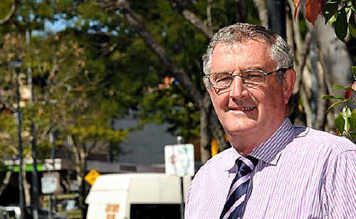 Mayor Ron Dyne in Mary Street. Gympie Regional Council is being called on to fix up pavers, replace trees and investigate better parking.