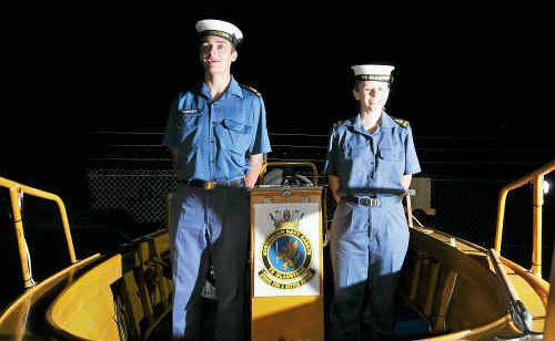 Gladstone Navy Cadets Leading Seamen Alex Turner, left, and Jaimie Burgess man the BP Gladstone-donated safety boat.