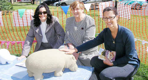 Councillors Mally McMurtrie, Denise Ingram and Jo McNally with a hippo made out of Hebel.