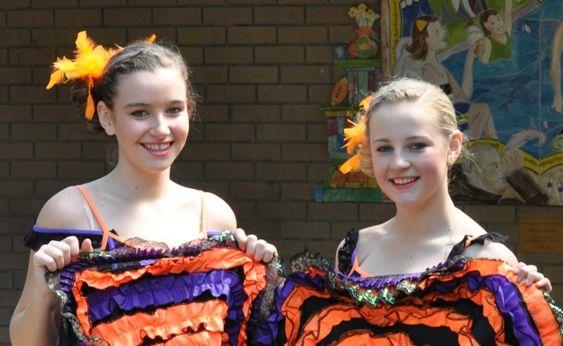 Dance students Madison Haley and Aleasha Pearson.