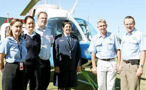 Bundaberg Base Administrator for the Royal Flying Doctor Service Joanne Redden, Constable Leesa Whalley, Sergeant John Kendall, Superintendent District Officer Anne Macdonald, Bundaberg Base Manager John Kennedy and CEO AGL Action Rescue Helicopter Rob Walford.